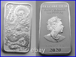 1 $ 2020 OZ Australian Rectangular DRAGON Silver Coin Pure 999 Silver Coin