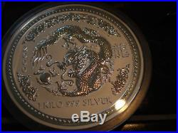 1 Kilo Silver Dragon Australian Lunar Series I Year 2000