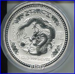 1 Kilo Silver Dragon Australian Lunar Series I Year 2000 Ultra Cameo