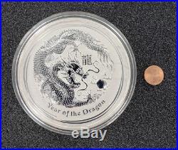 1 kg Silver Coin Perth Mint 2012 Lunar Dragon. 999 Fine Silver Huge Coin