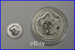 1 kilo 2012 Australian Lunar Year of the Dragon Silver Coin with Display Case