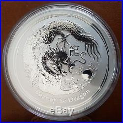 10 Oz Lunar Dragon Silver Bullion Coin 2012 Perth Mint, very LOW MINTAGE