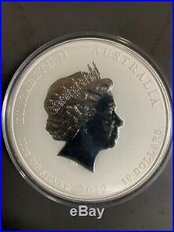 10 oz Lunar II Australian. 999 Silver Coin 2012 Year of the Dragon rare