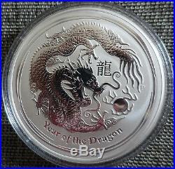 10 oz Lunar II silver coin 2012 Year of the Dragon rare
