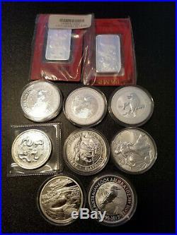 10 oz Silver (10) 1 oz Coins Kookaburra Dragon Elephant Pamp Suisse Bullion Lot