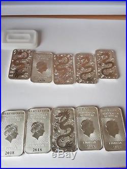 10 x 1oz 2018 Perth Mint Rectangle Silver Dragon Bar 9999 fine silver