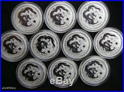 10 x LUNAR Silbermünzen Drache DRAGON 2012 Silver Coin