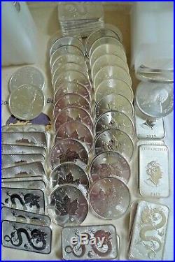 100 OUNCES BULLION SILVER 25x1oz Dragon bars +50 Krugerrand + 25 Maple in tubes