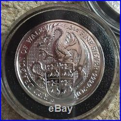 10oz 5 x 2oz Queens Beast. 999 silver coins Lion Griffin Bull Dragon Unicorn