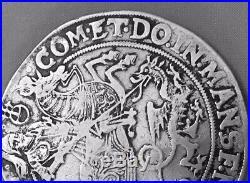 1619 Mansfeld Artern Germany St George Horse Dragon Silver Coin Taler Thaler 11