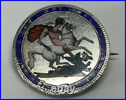 1819 George III Enamelled Crown Coin Brooch George Slaying The Dragon 25.6g