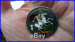 1821 George IIII enamel SILVER Crown 5/- COIN brooch pin George & Dragon