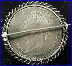 1821 King George IIII & Dragon CROWN Huge Sterling Coin ENAMEL LOVE TOKEN Brooch