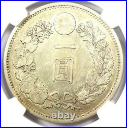 1881 (M14) Japan Yen Dragon Silver Coin Certified NGC AU Details Rare