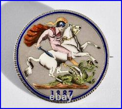 1887 Enamelled Queen Victoria Solid Silver Crown St George & the Dragon Brooch