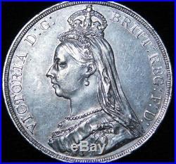 1887 Great Britain Crown Queen Victoria Silver Dragon Coin A32-173