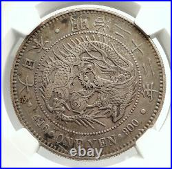 1889 JAPAN Genuine Silver Antique Japanese Yen MUTSUHITO DRAGON Coin NGC i76572