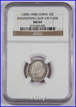1890-1908 CHINA KWANGTUNG 10 Cent Silver Dragon Coin NGC MS64 L&M-136 Y200 BU