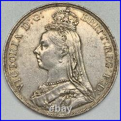 1890 Victoria Crown XF Silver Coin Great Britain Dragon Slayer Nice Details