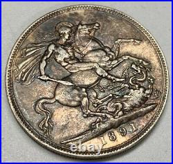 1891 Victoria Crown XF Silver Coin Old Cleaning Great Britain Dragon Slayer