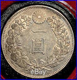 1894 Japan 1 Yen Silver Dragon Coin Dollar Meiji 27 AU++(Original Toned)