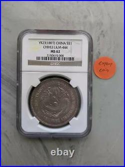 1897 Chihli China Silver $1 Dollar Dragon Coin NGC MS62 YR 23 Longhorn