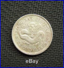 1898 China Kiangnan Province Silver 10 Cent Coin With Circle On Dragon Side Y#142