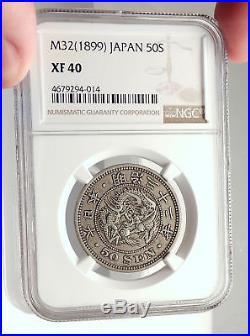 1899 JAPAN Emperor Mutsuhito (Meiji) Silver JAPANESE Coin w DRAGON NGC i71345