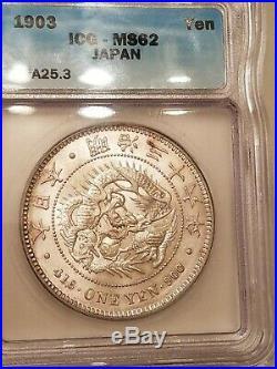 1903 JAPAN Empe MEIJI Large Antique Silver 1 Yen Japanese Coin DRAGON ICG