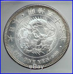 1903 JAPAN Empe MEIJI Large Antique Silver 1 Yen Japanese Coin DRAGON ICG i80901