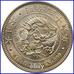 1903 JAPAN Emperor MEIJI & DRAGON Antique Silver 1 Yen Japanese Coin NGC MS63