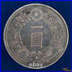 1903 Japan Year 36 One 1 Yen 900 Silver Dragon Crown Coin Meiji Y#a25.3 Xf/+