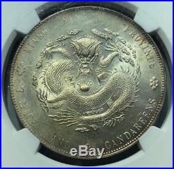 1904 China Kiangnan Dragon (dot left of 7) 1 Dollar Silver Coin NGC MS61