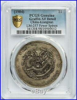 1904 China Kiangnan Silver Dollar Dragon Coin PCGS XF Details