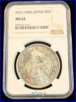 1904 Japan Silver 1 Yen Dragon Ngc Ms 62 Beautiful Smooth Luster Great Coin M37
