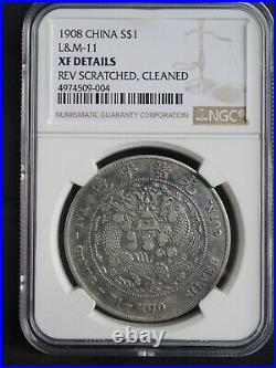 1908 China Empire Silver Dollar Dragon Coin NGC L&M-11 XF Details