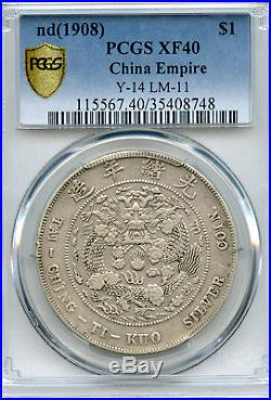 1908 China Empire Silver Dollar Dragon Coin PCGS L&M-11 Y-14 XF 40