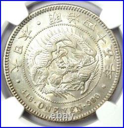 1912 Japan Dragon Yen Silver Coin 1Y M45 Certified NGC MS61 (BU UNC) Rare