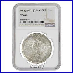 1912 (M45) Japanese One Yen Meiji Dragon Silver Coin NGC MS 61