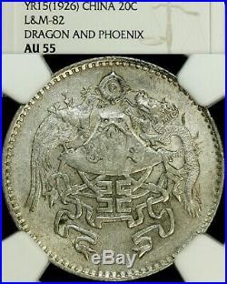 1926 China Republic Dragon & Phoenix 20 Cent SILVER COINNGC L&M-82 AU 55