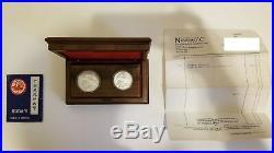 1990 Phoenix & Dragon Silver Proof Coin Set COA Original Wood Box 1 oz & 2 oz