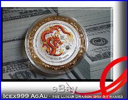 1oz Australian Perth Mint 2012 Lunar Dragon Silver Coloured Coin in Framed