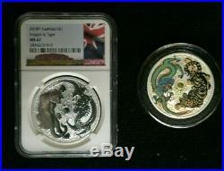 2-Coin Combo 2018-P Australia 1oz Silver Dragon & Tiger BU Colorized +NGC MS67