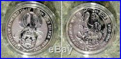 2 Coin Set Queen's Beasts 2 oz Silver Griffin-Dragon Standard Capsule