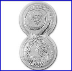 2 Dragons Coins Connecting Tails Germania 2020 5Mark Beast Geminus 2-1oz. 9999