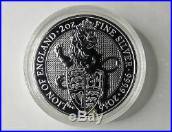 2 oz Silver Coins, Queens Beast, Lion + Griffin + Dragon All In Coin Capsule
