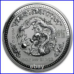 2000 10 oz Silver Lunar Dragon Series I. 999 Fine BU Perth Mint in capsule