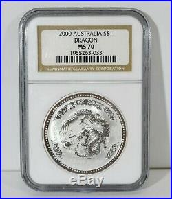 2000 AUSTRALIA LUNAR YEAR OF DRAGON 1oz NGC MS70.999 SILVER $1 COIN BU PERFECT