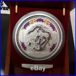 2000 AUSTRALIAN LUNAR Silver Coin KILO DRAGON Diamond Eye BOX COA Colorized