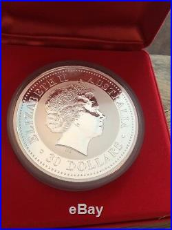 2000 AUSTRALIAN LUNAR Silver Coin KILO DRAGON Diamond Eye BOX Coa 30 Colorized